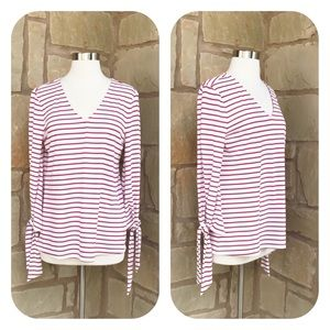 Ann Taylor Red Striped V-Neck 3/4 Sleeve Top M